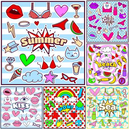 90s: Fashion Summer Patch Badges Sets with Sea, Summer, Girl, Kiss, WOW, Beach, Lipstick, Bra, Hearts, Camera, Sunglasses, Shoes, Candy. Set of Stickers, Pins, Patches in Cartoon 80s-90s Comic Style.