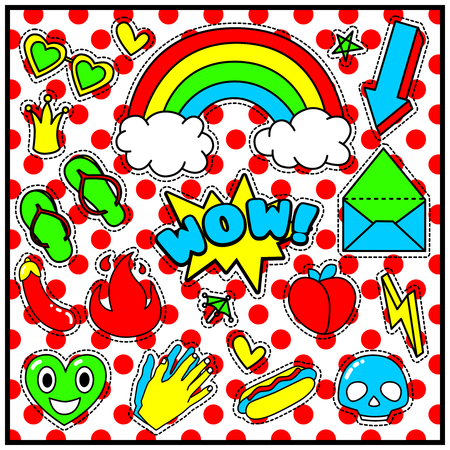 90s: Fashion Summer Patch Badges with WOW Expression, Letter, Arrow, Hands, Fire, Sunglasses, Hot Dog, Skulls, Clouds, Rainbow, Eggplant. Set of Stickers, Pins, Patches in Cartoon 80s-90s Comic Style.