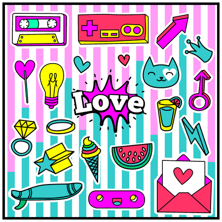fashion glasses: Cute Chic Fashion Summer Patch Badges with Love Expression, Letter, Crown, Lamp, Heart, Glasses, Cassette, Arrow, Surfboard, Watermelon. Set of Stickers, Pins, Patches in Cartoon 80s-90s Comic Style.