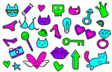 fashion glasses: Fashion patch badges with bra, hearts, cats, stars, lips, camera, glasses, shoes. Vector illustration isolated on white background. Set of stickers, pins, patches in cartoon 80s-90s comic style.