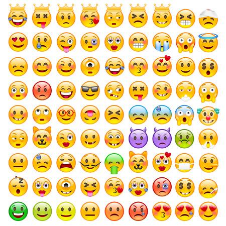 이모티콘의 추상 재미 집합입니다. 그림 이모티콘. 좋은 분위기 스마일 아이콘. 행복, 감정, 좌절, 열망의 감정.