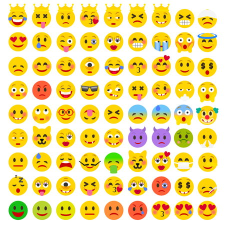eagerness: Abstract Flat Funny Set of Emoticons. Set of Emoji. Good Mood Smile Icons. Emotions of Happiness, Love, Anger, Frustration, Eagerness. Illustration
