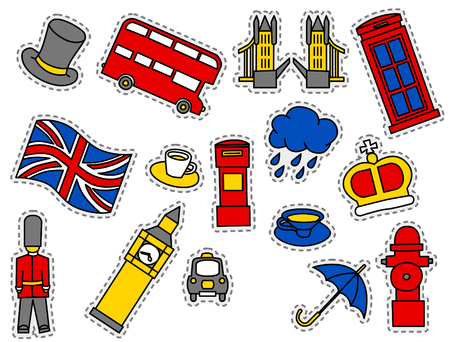 Fashion Patch Badges with Londons Symbols, Bus, Crown, Cloud, Hat, Flag, Umbrella Cup of Tea, Red Telephone Box, Tower Bridge, Big Ben . Set of Stickers, Pins, Patches in Cartoon 80s-90s Comic Style.