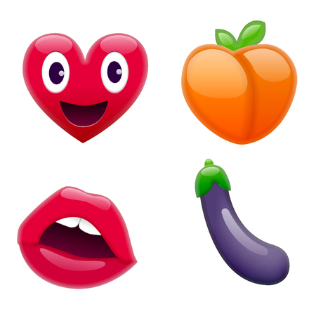 Set of Fantastic Smiley Emoticons, Emoji Design Set. Bright Icons of Love. Heart, Peach, Lips, and Eggplant. Stickes and Patches Ilustração