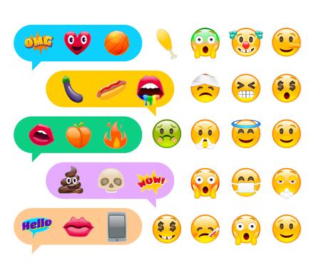 Icona di emoticon divertente carino astratto emoticon con messaggi di chat Archivio Fotografico - 82030897