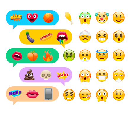 Abstract Cute Funny Emoji Emoticon Icon Set with Chat Messages