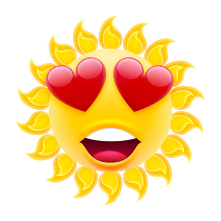 Smile in Love Emoticon Sun. Sun Emoji in Love with Two Hearts. Isolated Vector Illustration on White Background