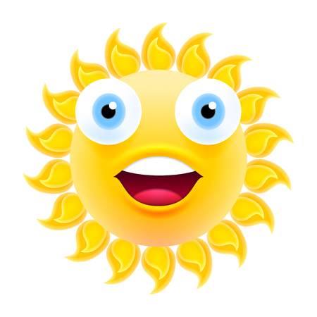 smiley: Happy Smiling Sun Emoticon with Open Mouth. Excited Sun Emoji with Two Big Eyes. Isolated Vector Illustration on White Background Illustration