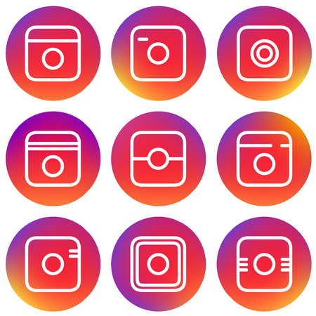 Smooth Color Gradient Icon Template Set Inspried by Instagram Logo. Vector Illustration for Your Social Media App Design Project