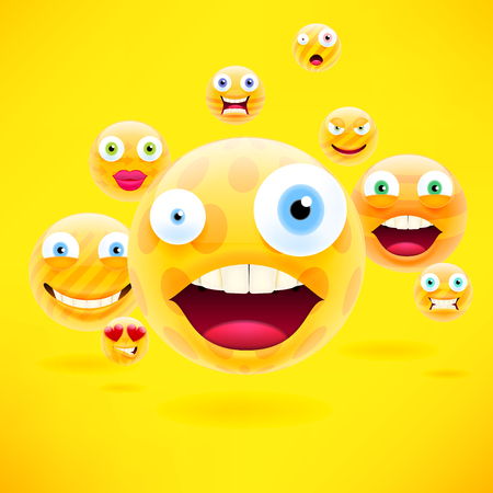 smiley: Concept for Community People Teamwork or Interaction. Yellow Background with Group of Abstract Smiley Emoticons, Emoji. Vector Illustration.