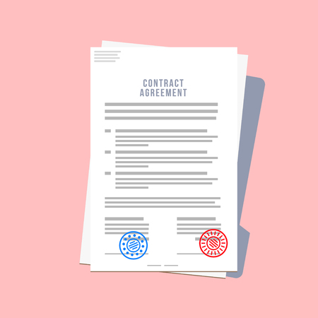 Contract Agreement Paper Blank with Two Seals. Vector Illustration in Flat Style on Pink Background
