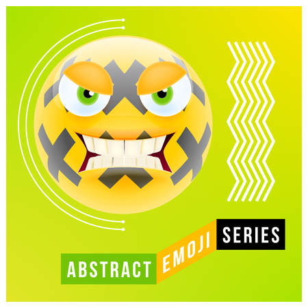Abstract Cute Angry Emoji with Big Eyes. Abstract Emoji Series. Yellow Crazy Angry Emoticon Face on Green Background Illustration