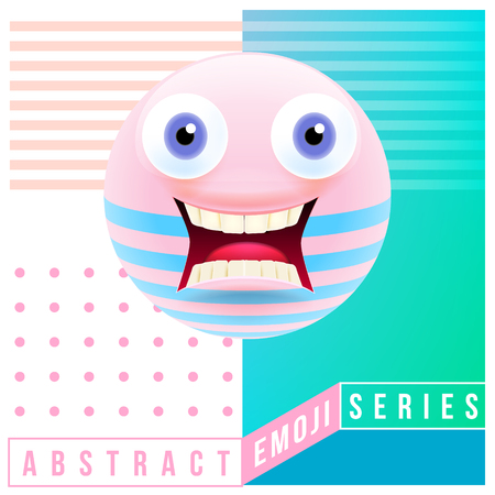 Abstract Cute Shocked Emoji with Big Eyes and Open Mouth with Teeth. Abstract Emoji Series. Pink Crazy Confused Emoticon Face on Blue Background
