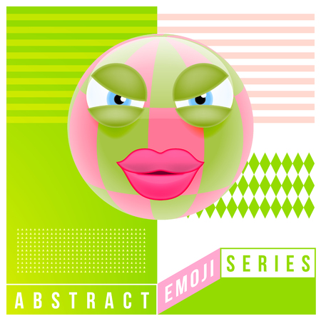 Abstract Cute Angry Female Emoji with Big Eyes. Abstract Emoji Series. Pink Crazy Angry Emoticon Face on Green Background