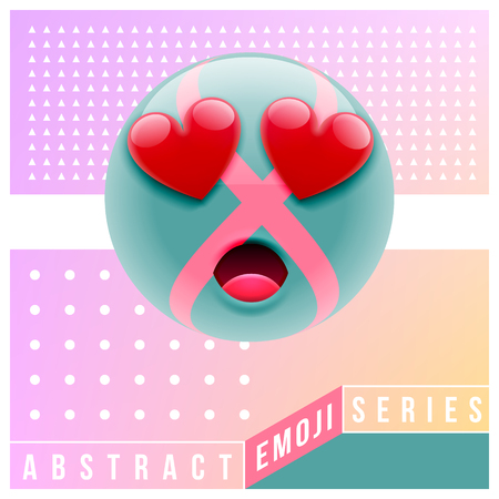 Abstract Cute Surprised Emoji in Love. Abstract Emoji Series. Green Confused Emoticon Face on Pink Background