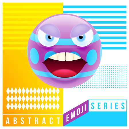 Abstract Cute Angry Emoji with Big Eyes. Abstract Emoji Series. Violet Crazy Angry Emoticon Face on Yellow Background
