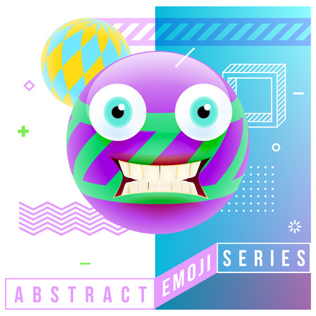 Abstract Cute Shocked Emoji with Big Eyes and Open Mouth with Teeth. Abstract Emoji Series. Violet Crazy Confused Emoticon Face on Blue Background