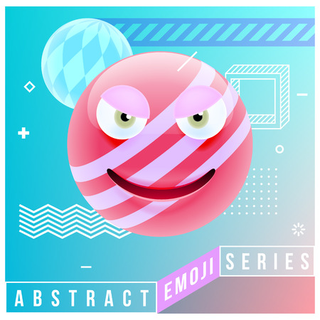Abstract Cute Angry Emoji. Abstract Emoji Series. Pink Crazy Angry Emoticon Face in Memphis Style on Blue Background Illustration