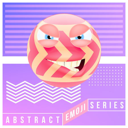 Abstract Cute Angry Emoji. Abstract Emoji Series. Pink Crazy Angry Emoticon Face in Memphis Style on Violet Background