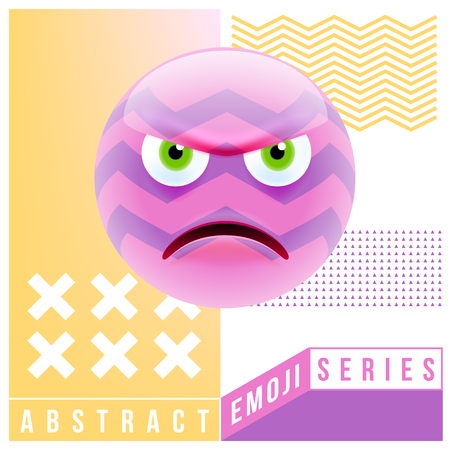 Abstract Cute Angry Emoji. Abstract Emoji Series. Pink Crazy Angry Emoticon Face on Yellow Background Illustration