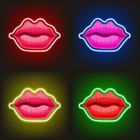 Light Sign of Neon Lips. Women Lips, Kiss, Mouth. Valentines Day Logo. Love, Sexy, Intimacy, Wedding Card, Banner. Red Kissing Sexy Lips Isolated Icons. 8 March Womens International Day