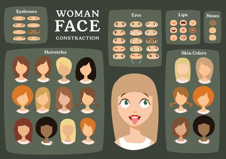 女性キャラクターのコンス トラクターです。漫画女性顔パーツ作成スペアパーツ。漫画のスタイルの顔。身体の部分。ベクトル図  イラスト・ベクター素材