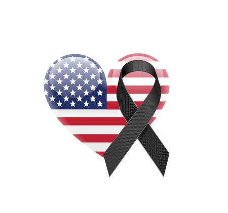 白い背景に黒のリボンとアメリカ合衆国フラグのハートのアイコン。ベクトル図