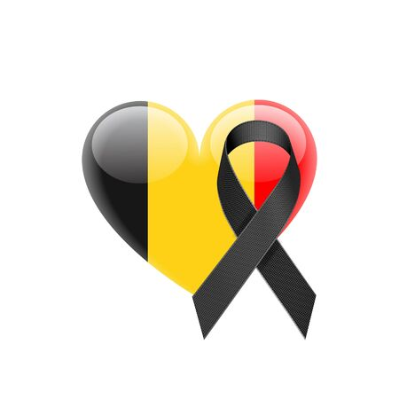 heart puzzle: Belgium Flag Heart Icon with Black Ribbon on White Background. Vector illustration