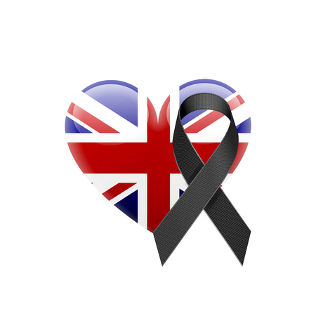 British Flag Heart Icon with Black Ribbon on White Background. Vector illustration Çizim