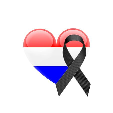 Dutch Flag Heart Icon with Black Ribbon on White Background. Vector illustration Çizim