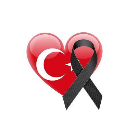 Turkish flag heart icon. Illustration