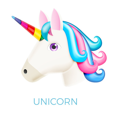 Unicorn Realistic Vector Icon Isolated on White. Head Portrait Horse Sticker, Patch Badge, Emoji. Cute Magic Cartoon Fantasy Cute Animal. Rainbow Hair. Dream Symbol. Design for kids