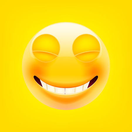 Happy face icon. Illustration