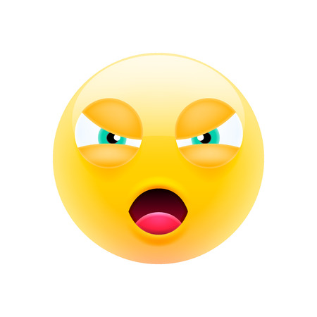 Unfriendly Mean Emoji with Open Mouth. Modern Emoji Series. Unfriendly Emoticon Face on White Background
