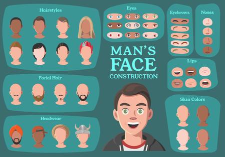 Der Charakter-Konstruktor des Menschen. Vom Geschäftsmann zum Hipster. Gesichtsteile des Karikatur-Mannes, Schaffung Ersatzteile. Cartoon-Stil Gesichter. Körperteil. Vektor-Illustration
