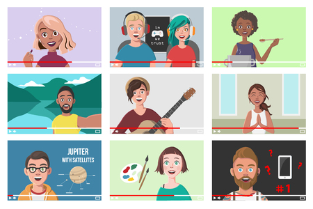 Set Of Different People On Internet Videos. Beauty Blogger. Gamers. Yoga Blogger. Cooking Blog. Music Covers. Travel Vlog. Science Nerdy Vlog. Artist Tutorials Vlog. Vector Illustration. Vettoriali