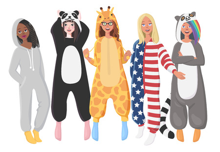 Womens Plush One-Piece Pajamas. Hooded over all  Giraffe, Panda, American Flag, Lemur. over all  for Women. Girls in Pajamas, Nightwear, Loungewear. Illustration