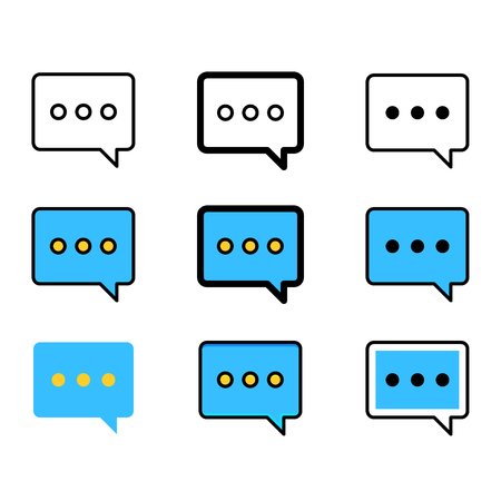 Set of Speech Bubbles Icons. Chat Message Icons in Different Graphic Styles