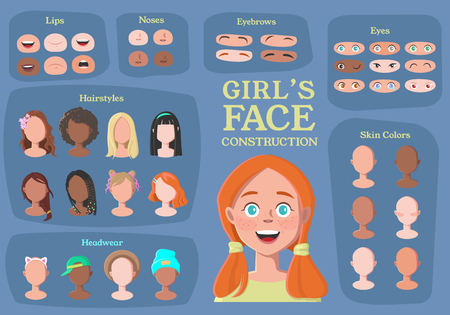 Girl's Character Constructor. From Student to Hipster. Cartoon Girl Face Parts Creation Spare Parts. Cartoon Style Faces. Body Part. Vector Illustration  イラスト・ベクター素材