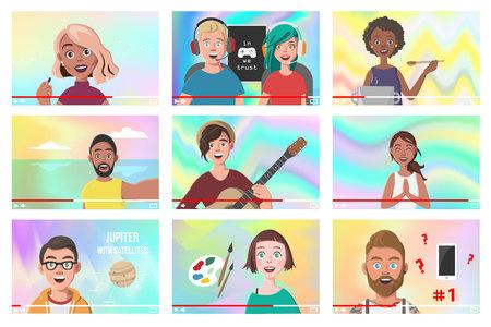 Set Of Different People On Internet Videos. Beauty Blogger. Gamers. Yoga Blogger. Cooking Blog. Music Covers. Travel Vlog. Science Nerdy Vlog. Artist Tutorials Vlog. Vector Illustration. 일러스트