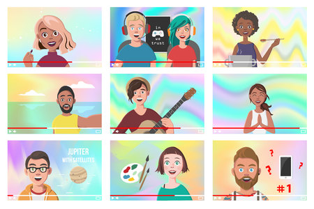 Set Of Different People On Internet Videos. Beauty Blogger. Gamers. Yoga Blogger. Cooking Blog. Music Covers. Travel Vlog. Science Nerdy Vlog. Artist Tutorials Vlog. Vector Illustration. Illustration