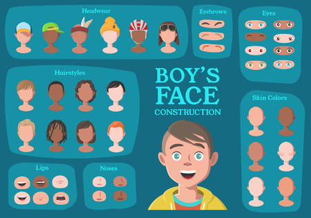 Boy's Character Constructor. From Student to Hipster. Cartoon Boy's Face Parts, Creation Spare Parts. Cartoon Style Faces. Body Part. Vector Illustration 版權商用圖片 - 95182274