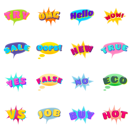 Set of Expression Icons as Try, OMG, Hello, WOW, Sale, Oops, New, True, Yes, False, No, Eco, VS, Job, Buy and Hot. Emotion Emojis Stock Illustratie