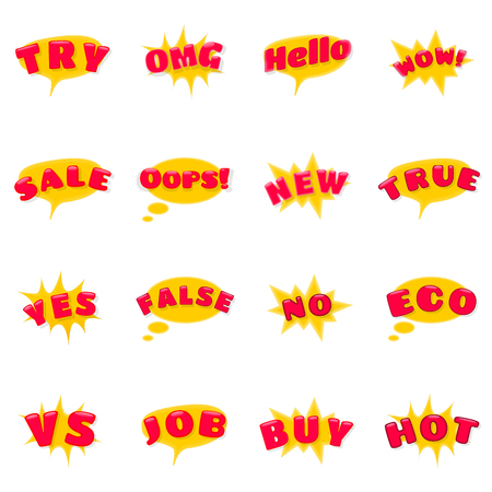 Set of Expression Icons as Try, OMG, Hello, WOW, Sale, Oops, New, True, Yes, False, No, Eco, VS, Job, Buy and Hot. Emotion Emojis 일러스트