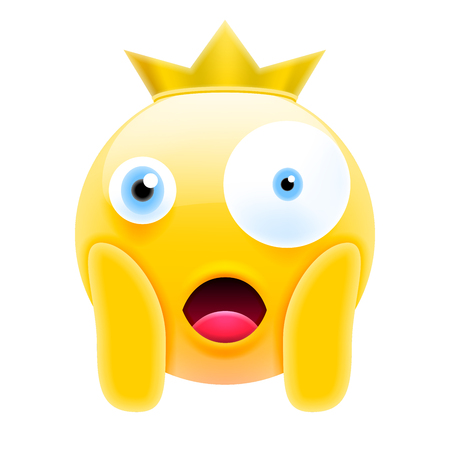 Face Screaming in Fear Emoji. Scared Face Icon with Crown