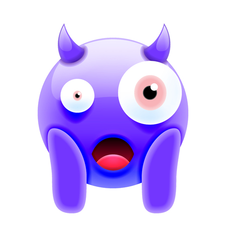 Face Screaming in Fear Devil Emoji. Scared Face Icon Иллюстрация