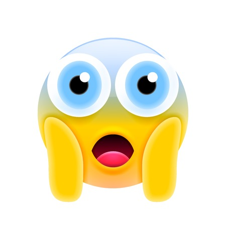 Face Screaming in Fear Emoji with Big Eyes. Scared Face Icon Иллюстрация