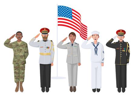 Cinco soldados estadounidenses en uniforme. Puede usarse para los eventos del Día de los Caídos, el Día de los Veteranos y el Día de la Independencia. Material para póster, pancarta, sitio web.
