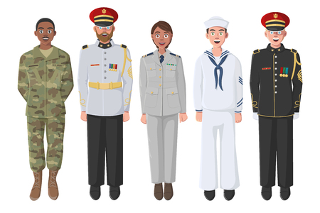 Five American Soldiers in Uniform. May be used for Memorial Day, Veterans Day, Independence Day Events. Material for Poster, Banner, Website.