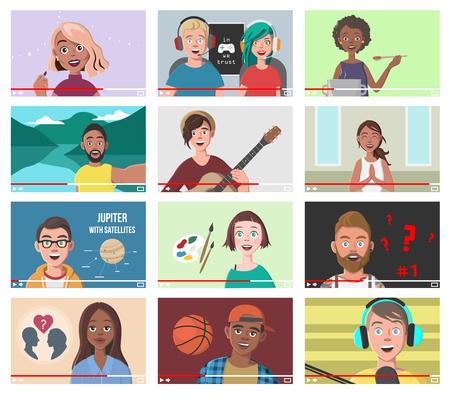 Set Of Different People On Internet Videos illustration. Ilustração